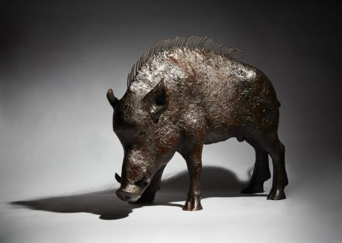 Still life of of fine art bronze sculpture - wild boar