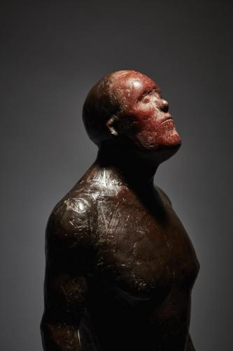 Still life of of fine art bronze sculpture - figure red face