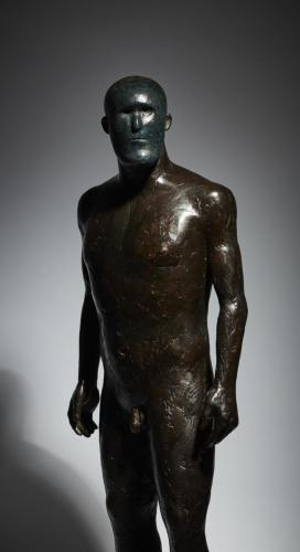 Still life of of fine art bronze sculpture - figure blue face